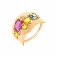 Золотое кольцо с ситалом и фианитами ДП312393