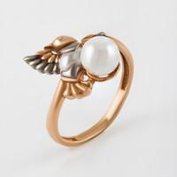 Серебряное кольцо с жемчугом и эмалью ЮХДК21