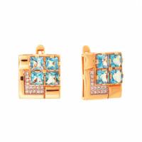 Золотые серьги с топазами и фианитами ДП321217