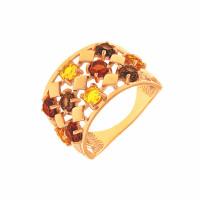 Золотое кольцо с ситалом и раухтопазами ДП312429