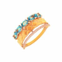 Золотое кольцо с топазами и фианитами ДП311578