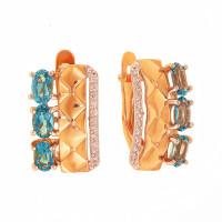 Золотые серьги с топазами и фианитами ДП321578