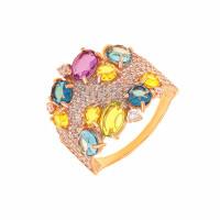 Золотое кольцо с ситалом и фианитами ДП312260