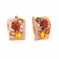 Золотые серьги с ситалом, фианитами и раухтопазами ДП322289