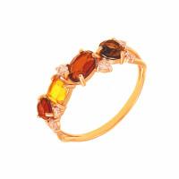 Золотое кольцо с ситалом, фианитами и раухтопазами ДП312415