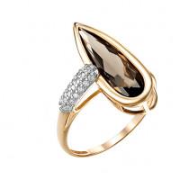 Золотое кольцо с фианитами и раухтопазами МБ01-1-720-0401-011