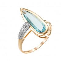 Золотое кольцо с аквамаринами синтами и фианитами МБ01-1-720-4201-011