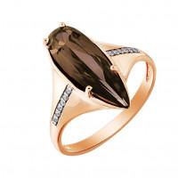 Золотое кольцо с раухтопазами и фианитами МБ01-2-319-0401-011