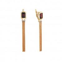Золотые серьги подвесные с гранатами и топазами МБ02-2-440-2100-011