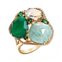 Золотое кольцо с опалами, бриллиантами и сапфирами ЮЕТР00041РУПОПСКОПСПОПУГ