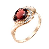 Золотое кольцо с гранатами и фианитами МБ01-1-609-0301-011
