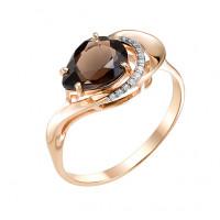 Золотое кольцо с раухтопазами и фианитами МБ01-1-609-0401-011