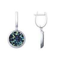 Серебряные серьги подвесные с кристаллами swarovski ДИ94022685