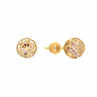 Золотые серьги гвоздики с цирконами РВБИХE0044-02