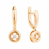 Золотые серьги подвесные с бриллиантами МЭС74318