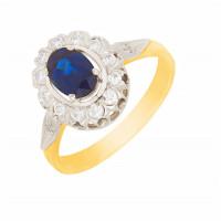 Золотое кольцо с бриллиантами и сапфиром МЭК72044