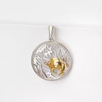 Серебряный знак зодиака с фианитами «телец» ЮХПЗ02
