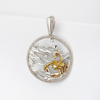 Серебряный знак зодиака с фианитами «скорпион» ЮХПЗ05