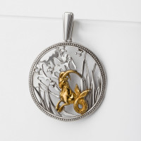 Серебряный знак зодиака с фианитами «козерог» ЮХПЗ07