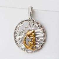Серебряный знак зодиака с фианитами «водолей» ЮХПЗ08