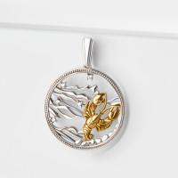 Серебряный знак зодиака с фианитами «рак» ЮХПЗ10