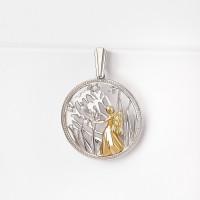 Серебряный знак зодиака с фианитами «дева» ЮХПЗ12