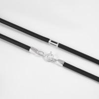 Каучуковый шнурок с серебряной вставкой НРСР6032-5к