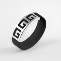 Серебряное кольцо с каучуком НРСР03454К