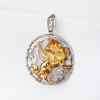 Серебряный знак зодиака «лев» ЮХПЗ211