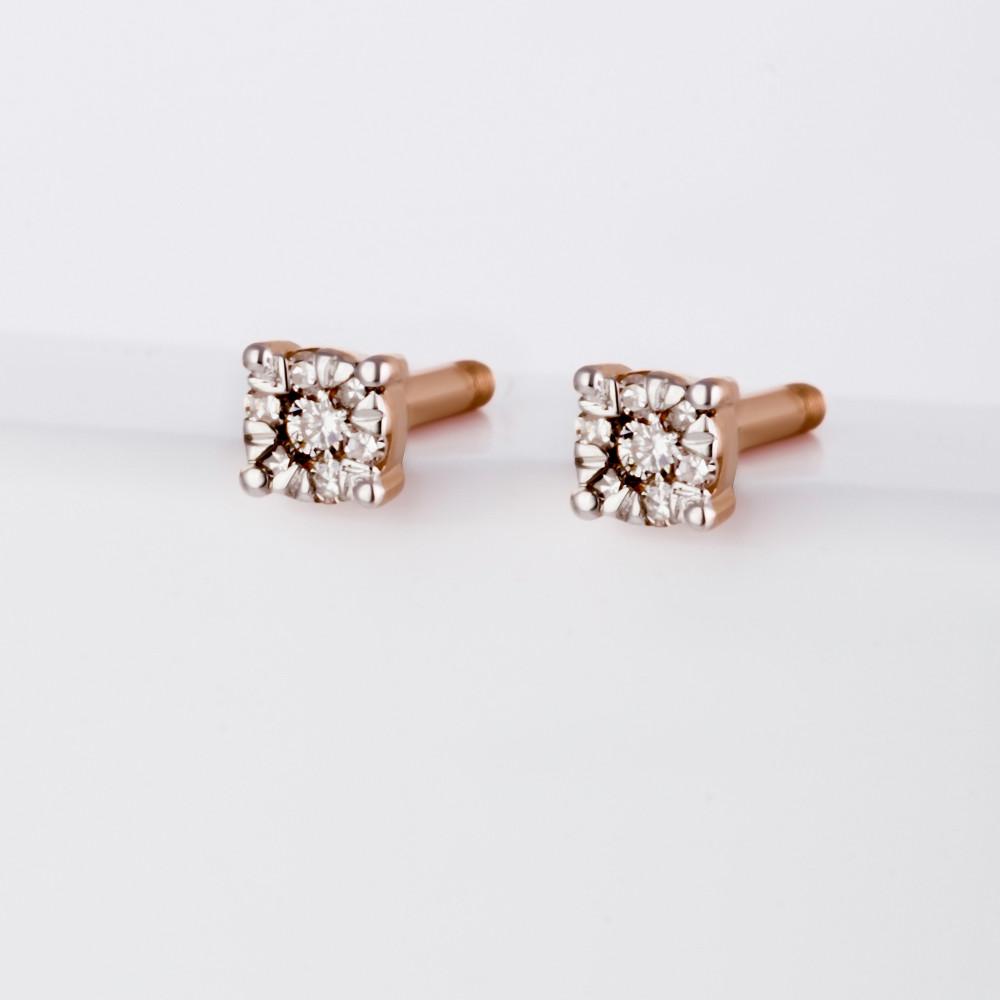 Золотые серьги гвоздики с бриллиантами ЮИС112-1614 | Купить в интернет-магазине «Наше золото»