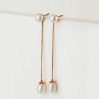 Золотые серьги гвоздики с жемчугом ПЭПСЛ517