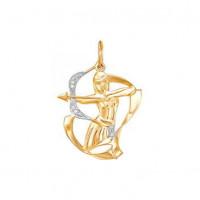 Золотой знак зодиака «стрелец» с фианитами ДП030341