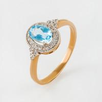 Золотое кольцо с топазами и фианитами ЮПК1343249тс