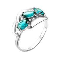 Серебряное кольцо с фианитами и кварцем плавленым РО1-1060Р-111