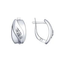 Серебряные серьги с фианитами ДИ94022518