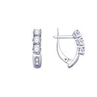 Серебряные серьги конго с фианитами ДИ94022979