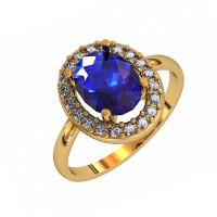 Серебряное кольцо с алпанитами и фианитами ПЮ252204тл