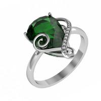 Серебряное кольцо с алпанитами и фианитами ПЮ261608зел