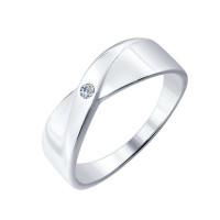 Серебряное кольцо с бриллиантом ДИ87010004