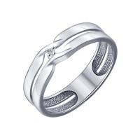 Серебряное кольцо с бриллиантом ДИ87010014