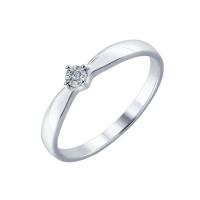 Серебряное кольцо с бриллиантом ДИ87010015