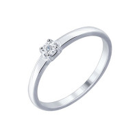 Серебряное кольцо с бриллиантом ДИ87010016