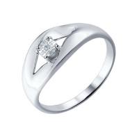 Серебряное кольцо с бриллиантом ДИ87010017