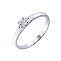 Серебряное кольцо с бриллиантом ДИ87010018