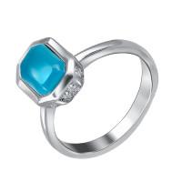 Серебряное кольцо с ониксами и фианитами СЫ210022263113