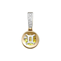 Золотой знак зодиака «близнецы»  с цитриным и фианитами ЮИП122-5662ц
