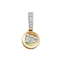 Золотой знак зодиака с аметистом и фианитами ЮИП122-5663амз