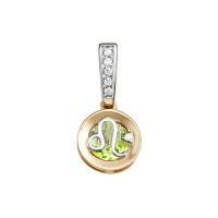 Золотой знак зодиака «лев» с хризолитом и фианитами ЮИП122-5664хр