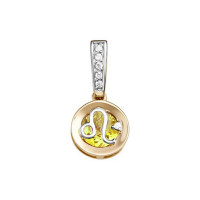 Золотой знак зодиака с цитриным и фианитами ЮИП122-5664ц
