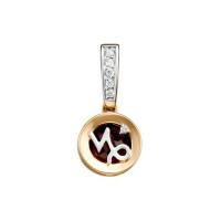 Золотой знак зодиака «козерог» с гранатом и фианитами ЮИП125-5669гр